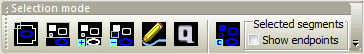 Outline selection icon button bar