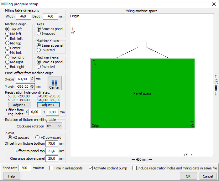 Milling program setup dialog box